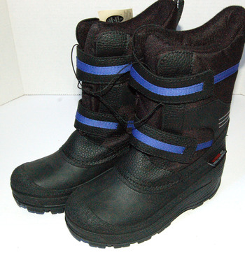 New With Tags Boys' Winter Boots Black/Blue Size 3