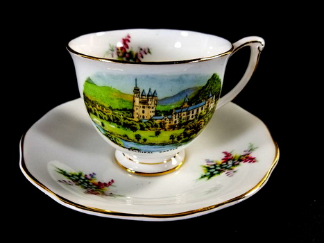 Queen Anne Bone China Tea Cup and Saucer - Balmoral Castle