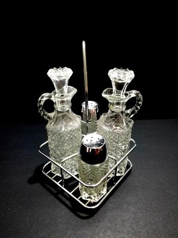 Stunning Vintage Cruet Set Cut Glass In Chrome Basket With Handle