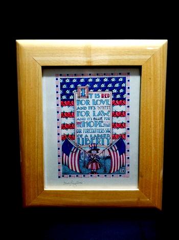 VTG Framed Wooden Liberty Print