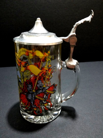 Vintage Prague Glass Beer Stein With Handle And Lid