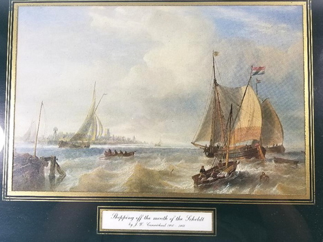 Framed In Glass And Matted Ships Scene Water Color