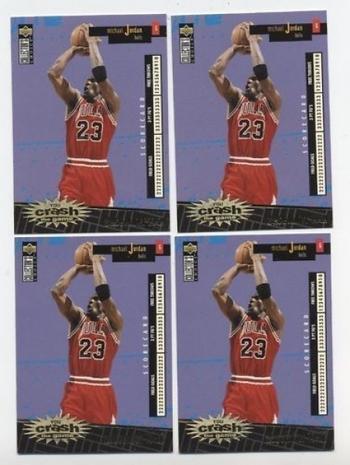 Michael Jordan 1996-97 Crash The Game 2 FRENCH & 2 ITALIAN GOLD Cards 4 Total $500 Beckett Value