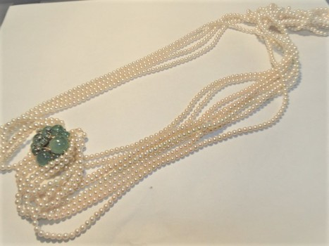 Ladies Pearl Diamond, Emerald Choker Necklace - Police Released Value $6,155.00