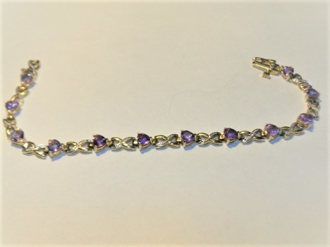 10 Kt Yellow Gold Diamond & Amethyst Bracelet  - Police Released Value $2,125.00