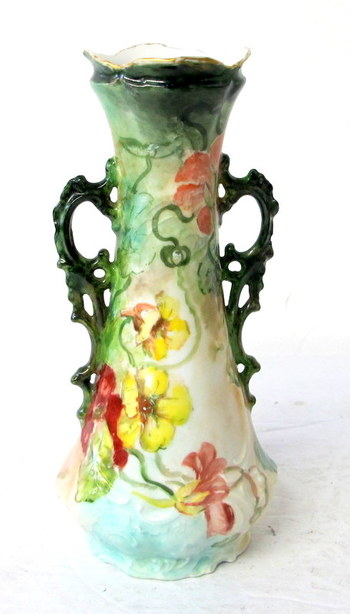 Turn of the Century Hand Painted Two Handle Vase- Signed