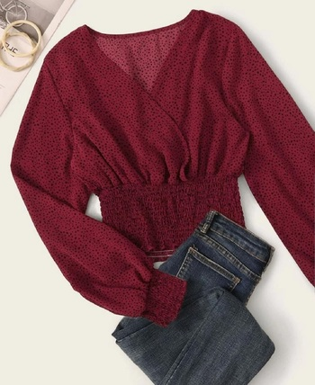 SHEIN SPECKLED SMOCKED LONG SLEEVE CROPPED TOP-MEDIUM