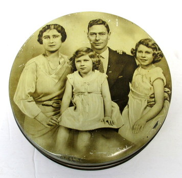 Vintage English Toffee Tin with the Picture of the Royal Family with Button Included