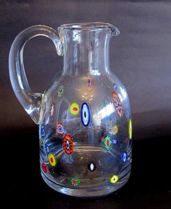 Murano Art Glass Leonardo Millefiori Pitcher made in Italy