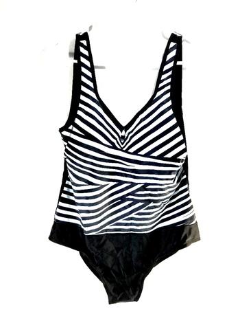Retro Navy Stripe One Piece Ladies Swimsuit Size L