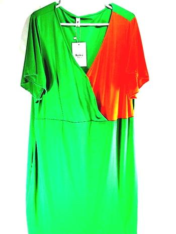 Plus Size Two Tone Surplice Dress - Green Orange Size 4XL