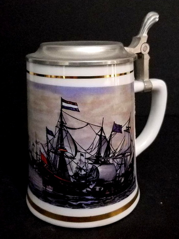 VTG German Beer Stein With Lid - Tall Ships Scene