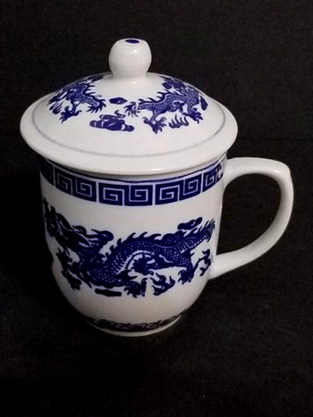 Porcelain Sugar Bowl With Handle and Lid
