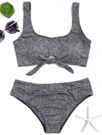 NWT Heathered Front Tied Bikini Set - Gray Size L