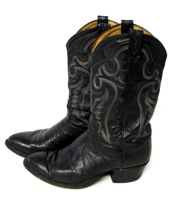 Tony Lama Men's Lizard and Leather Cowboy Boots-Size 10