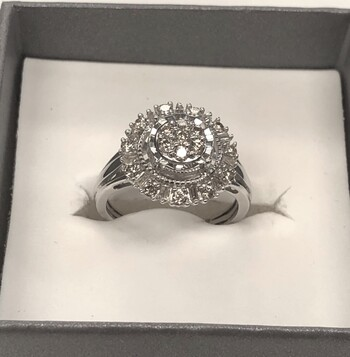 0.50 Carat Diamond Cluster Ring Sz 6.25
