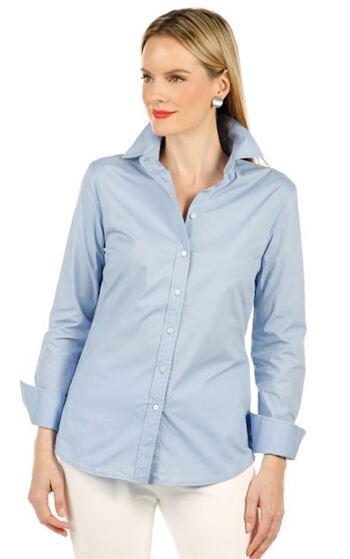 Guillaume Women's Classic Button Down Shirt, Blue, Size 4 Retail: $20.62