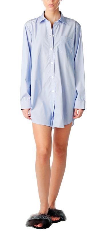 Pink Tartan Men's Long Sleep Shirt, Blue/White, Med, Retail: $325
