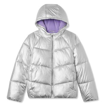George Girls' Short Hooded Metallic Puffer Jacket Size M