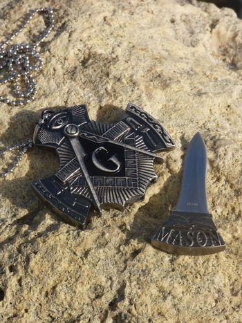 Masonic Necklace Hidden Knife Pendant
