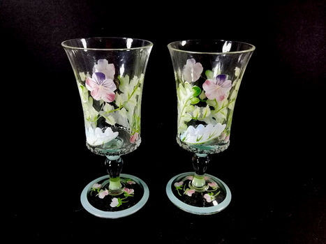 2 Hand Painted Stem Glass Goblets