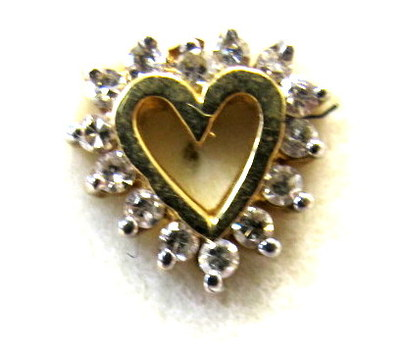 Vintage Only one Single 10 Kt Gold and Diamond Stud Earring
