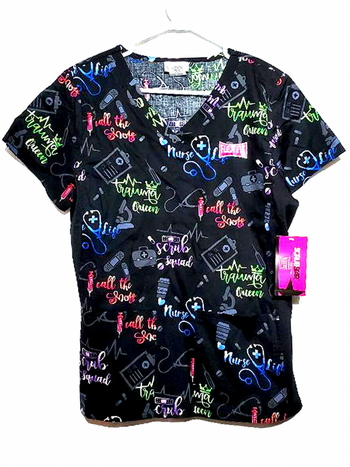 New With Tags Trauma Queen V-Neck Print Scrub Top Size M