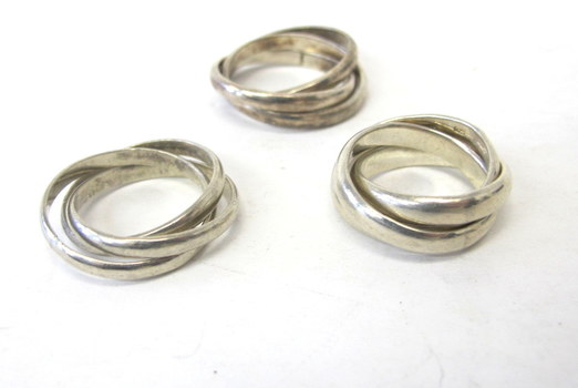 3 Vintage Triple Interlocking Rings