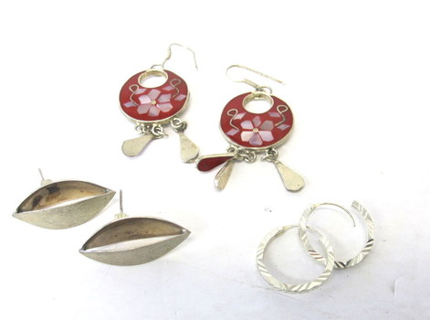3 Pairs of Vintage Sterling Silver Earrings