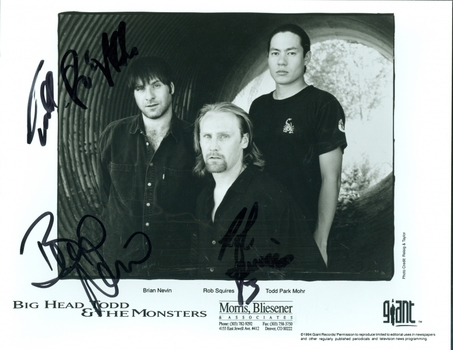 Big Head Todd and the Monsters Band All 3 Members Signed Autographed 8x10 Photo w/coa $400 Retail
