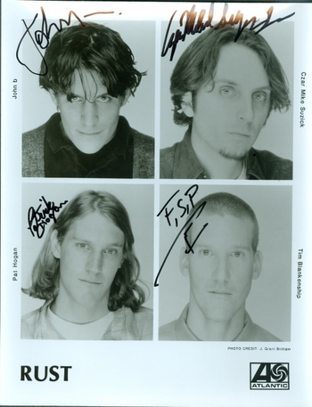 RUST Band 4 Members Signed Autographed 8x10 Photo w/coa $400 Retail
