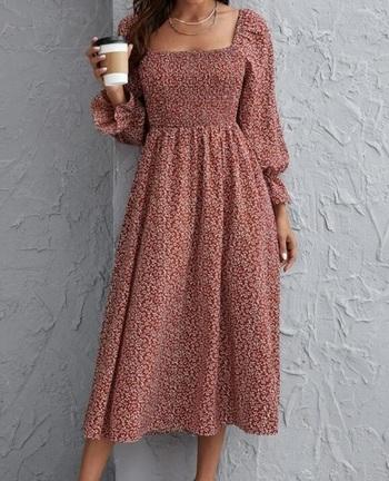 DITSY FLORAL BISHOP SLEEVE SHIRRED DRESS-XS
