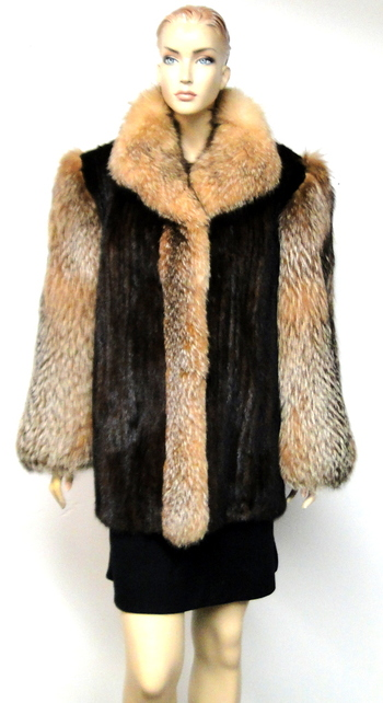 Women's Dark Brown Mink and Red Fox Coat- Size Large MSRP: $3,400.00