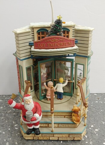 Enesco Vintage Silver Bells Animated Musical Toy Emporium Christmas Decoration