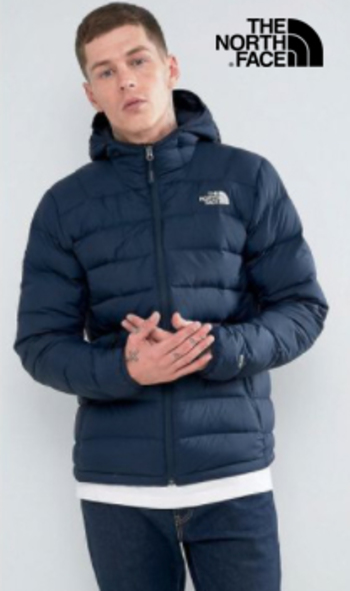 The North Face - Men's Hooded Puffer Jacket - Navy Blue- Size L