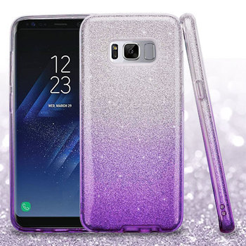 Hard Case Cover For Samsung Galaxy S8 Plus Glitter Hybrid TPU Gradient  - Purple