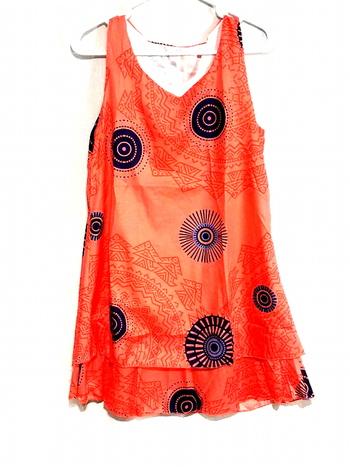 New Ladies Print All Over Dress Orange Size S