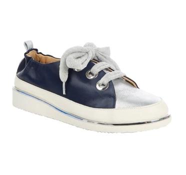 Ron White Novena Lace Up Women's Sneaker, Colour: Navy/Silver, Size: 9 1/2 (40), Retail: $495.00 CAD