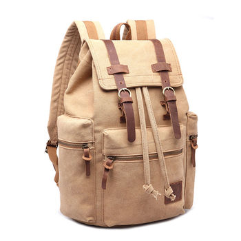 Vintage Retro Canvas Backpack Travel Sport Rucksack Satchel Hiking School Bag - Khaki