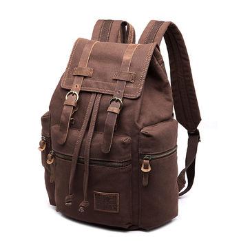 Vintage Retro Canvas Backpack Travel Sport Rucksack Satchel Hiking School Bag - Coffee
