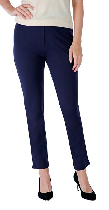 Guillaume Designs Ladies Slim Fit Ponte Pant With Contrast Side Stitching, Navy, XS, Retail: $64
