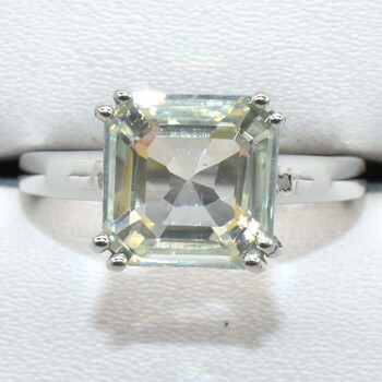 Sterling Silver Moissanite Ring Sz 7.25 Retail $850.00