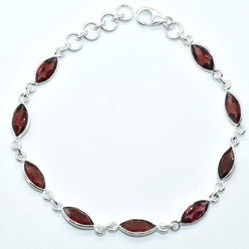 Sterling Silver Garnet Bracelet Retail $300.00