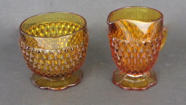 Vintage Amber Glass Sugar Bowl and Creamer Set