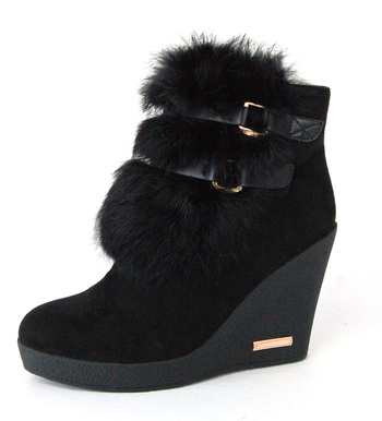 Boots: Women's Black Wedge Boots by Dusaka Sz 7 - Retail $180.00