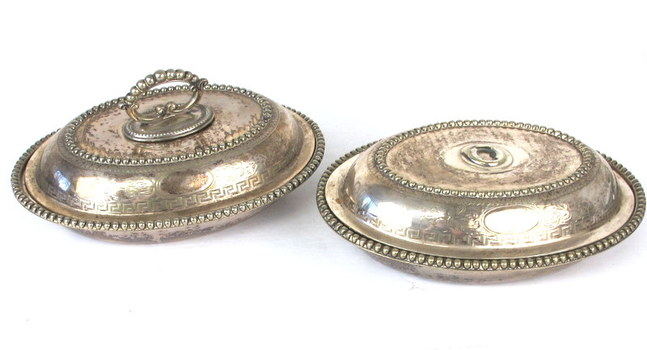 Vintage Silver Plated Serving Set with One Removable Handle