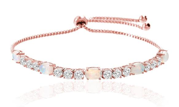 Fiery Opal Tennis Bracelet Made with Swarovski Crystals in Rose Gold Retail $200.00