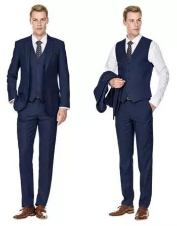 Braveman M300 Men's Slim Fit 3PC Solid Suit, Navy, Size 40S/34W