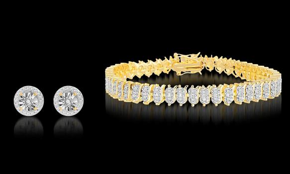 Diamond Accent Tennis Bracelet with Diamond Accent Earrings