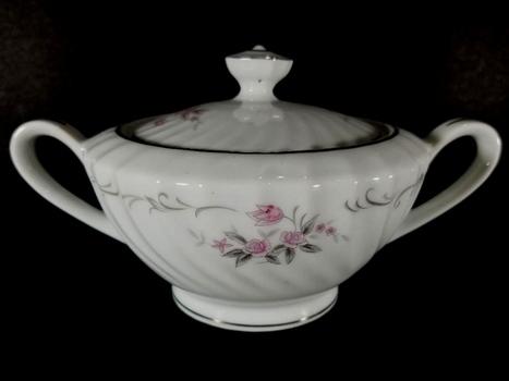 VTG Hand Painted Japan Porcelain Sugar Bowl With Lid and Handles - Gold Standard